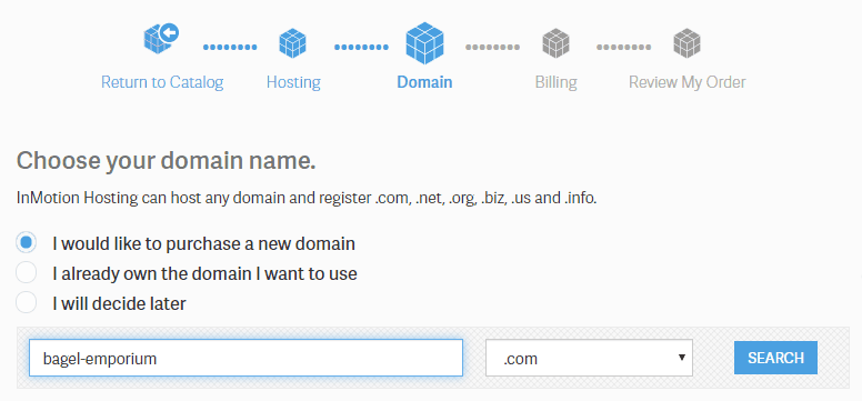 InMotion Hosting Masukkan Domain